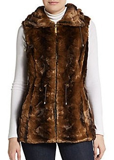 Ellen Tracy Faux Fur Drawstring Vest