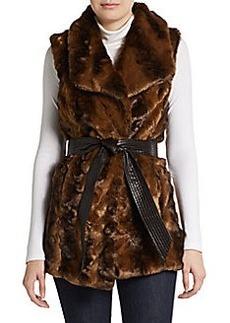 Ellen Tracy Faux Fur Tie-Waist Vest