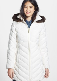 Ellen Tracy Faux Fur Trim Hooded Quilted Walking Coat (Online Only)