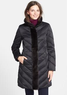Ellen Tracy Faux Fur Trim Long Quilted Coat (Online Only)