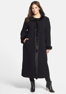 Ellen Tracy Faux Fur Trim Long Wool Blend Tuxedo Coat (Plus Size)