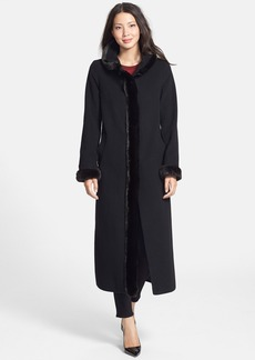 Ellen Tracy Faux Fur Tuxedo Trim Wool Blend Long Coat (Online Only)