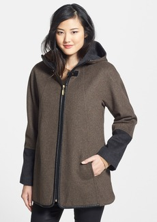 Ellen Tracy Faux Leather Trim Colorblock Swing Duffle Coat
