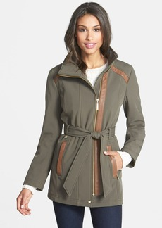 Ellen Tracy Faux Leather Trim Soft Shell Jacket (Online Only)