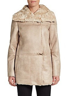 Ellen Tracy Faux Shearling Boxy Coat