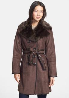Ellen Tracy Faux Shearling Trench Coat