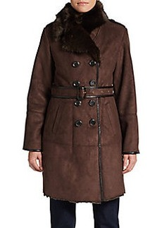 Ellen Tracy Faux Shearling Trenchcoat