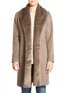 Ellen Tracy FauxFur Trim LongWool Blend Wrap Coat