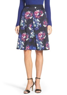 Ellen Tracy Floral Print Front Pleat Skirt (Regular & Petite)