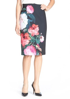 Ellen Tracy Floral Print Pencil Skirt (Regular & Petite)