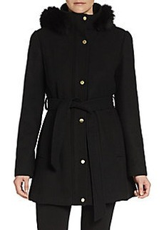 Ellen Tracy Fox Fur-Trim Hooded Coat