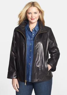 Ellen Tracy Front Zip Lambskin Leather A-Line Jacket (Plus Size)