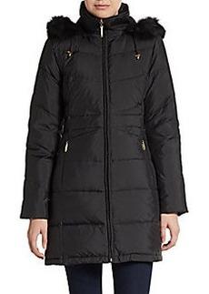 Ellen Tracy Fur-Trimmed Down Puffer Coat