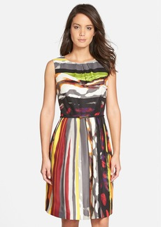 Ellen Tracy 'Galaxy Stripe' Belted Print Twill Fit & Flare Dress