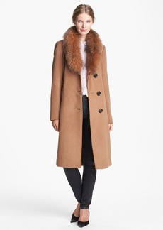 Ellen Tracy Genuine Fox Fur Trim Belted Long Coat (Regular & Petite) (Online Only)