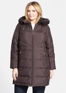 Ellen Tracy Genuine Fox Fur Trim Hooded Down Walking Coat (Plus Size)