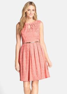Ellen Tracy 'Gilded' Belted Knit Fit & Flare Dress