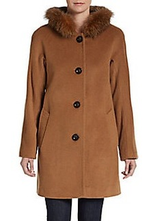 Ellen Tracy Hooded Fox Fur-Trimmed Coat