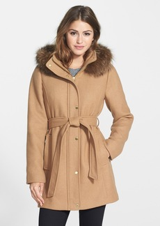 Ellen Tracy Hooded Wool Blend Coat with Genuine Fox Fur Trim (Online Only)