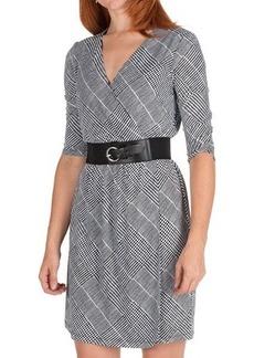 Ellen Tracy Houndstooth Jersey Dress - 3/4 Sleeve (For Women)