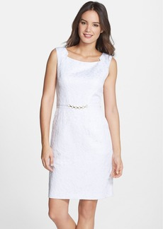 Ellen Tracy Jacquard Sheath Dress