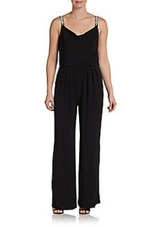 Ellen Tracy Jeweled-Strap Jumpsuit