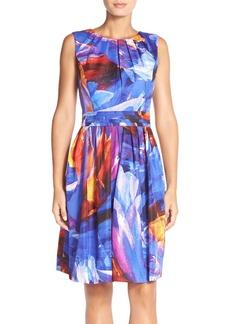 Ellen Tracy 'Kaleidoscope' Print Cotton Fit & Flare Dress