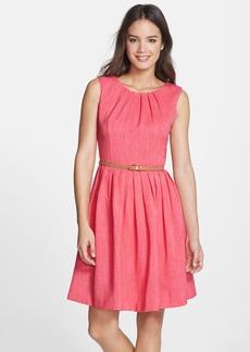 Ellen Tracy 'Kenya' Belted Pleated Cotton Fit & Flare Dress (Petite)