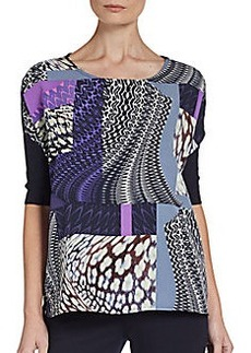 Ellen Tracy Knit Back Print Top