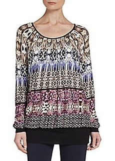 Ellen Tracy Knit-Trim Woven Print Top
