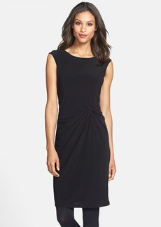 Ellen Tracy Knot Waist Stretch Crepe Sheath Dress (Online Only)