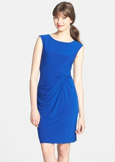Ellen Tracy Knot Waist Stretch Crepe Sheath Dress (Petite)