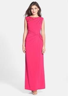 Ellen Tracy Lace Inset Twist Front Jersey Gown