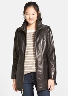 Ellen Tracy Leather A-Line Coat (Online Only)