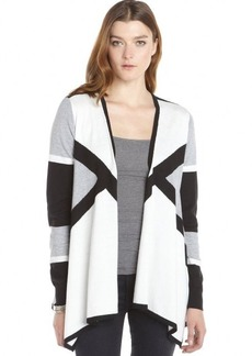 Ellen Tracy light heather grey cotton blend graphic drape front cardigan
