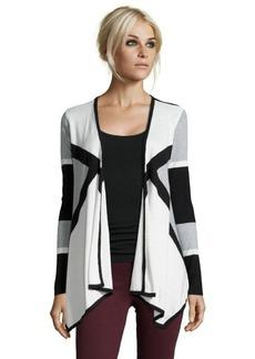 Ellen Tracy light heather grey cotton blend graphic drape front cardigan