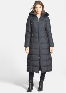 Ellen Tracy Long Down Coat with Removable Faux Fur Trim Hood (Online Only)