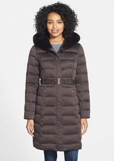 Ellen Tracy Long Iridescent Down Coat with Faux Fur Trim Hood