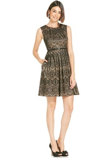 Ellen Tracy Metallic Lace Pleated Dress