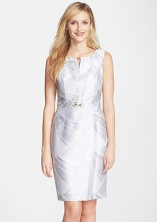 Ellen Tracy Metallic Twill Sheath Dress