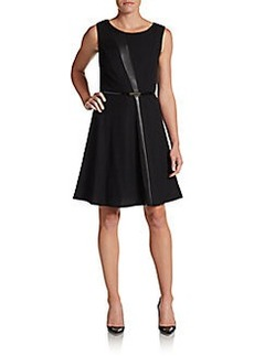 Ellen Tracy Mixed Media Fit-and-Flare Dress