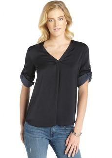 Ellen Tracy navy sateen convertible sleeve v-neck hi-low hem blouse