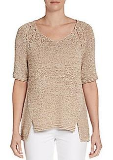 Ellen Tracy Notched Hem Sweater