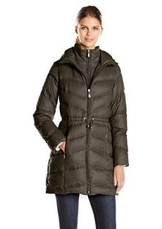 Ellen Tracy Outerwear Women's Chevron Packable Down Coat with Cinch Waist