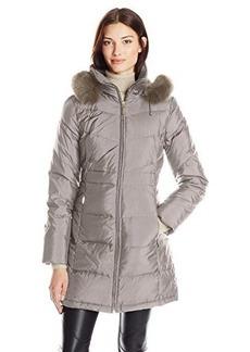 Ellen Tracy Outerwear Women's Down Coat with Fur Trim