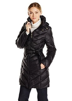 Ellen Tracy Outerwear Women's Quilted Packable Belted Down Coat