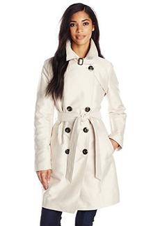 Ellen Tracy Outerwear Women's Structured Sateen Trench Coat