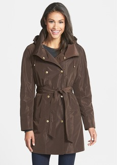 Ellen Tracy Packable Belted Iridescent Raincoat (Petite)