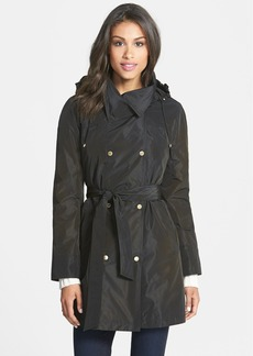 Ellen Tracy Packable Belted Iridescent Raincoat