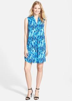 Ellen Tracy Pleat Front Print Shift Dress (Regular & Petite)